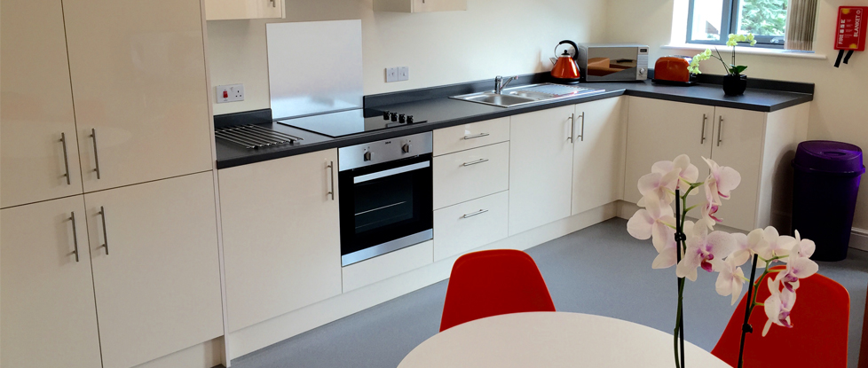 Our newly fitted communal kitchens in Longdales Lodge, Student accommodation in Lincoln.