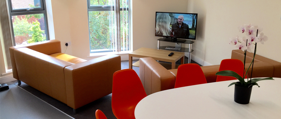 The communal living space in Longdales Lodge student accommodation in Lincoln.